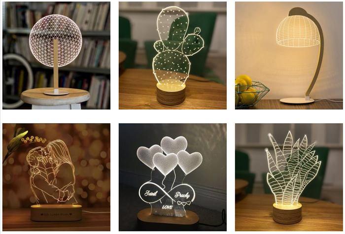 زیباترین طرح های چراغ خواب سه بعدی