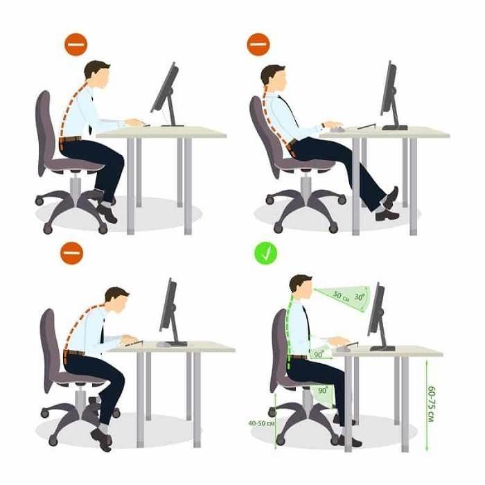 بهترین حالت نشستن پشت میز کامپیوتر