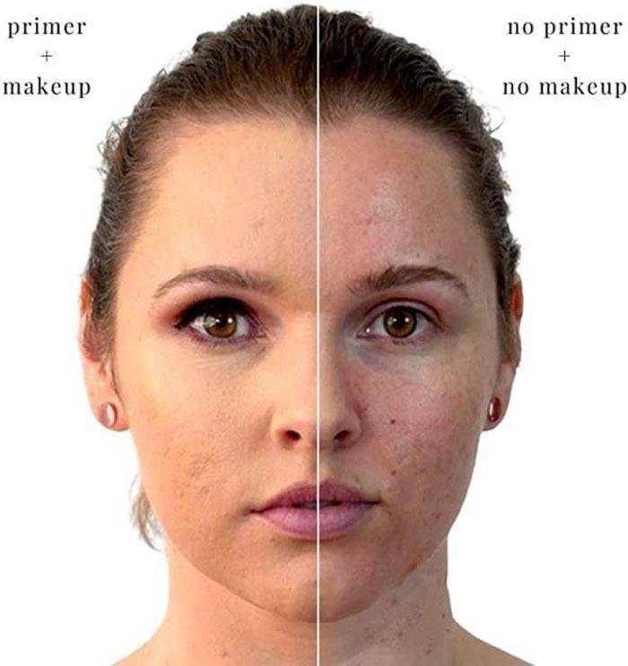 قبل و بعد استفاده از پرایمر صورت